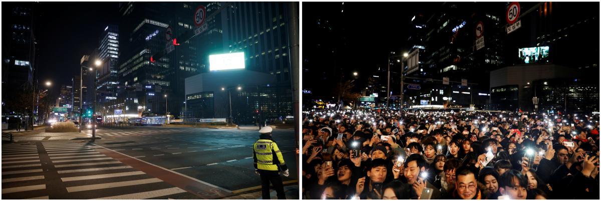 Сеул в канун Нового года в 2020и 2019 годах / фото REUTERS15